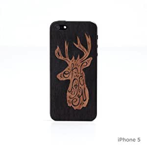Lazerwood Oh Deer - Carcasa para iPhone 5 y 5S (madera, incluye protector de pantalla), diseño de reno