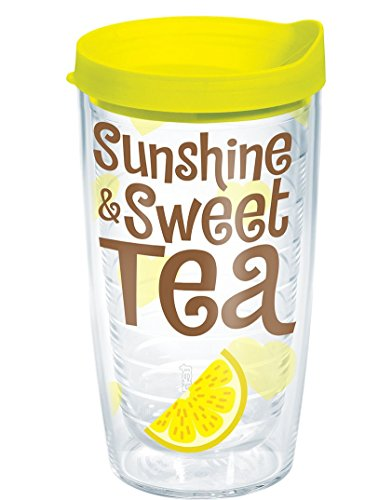 Tervis Sunshine Sweet Tea Wrap Bottle with Yellow Lid, 16-Ou