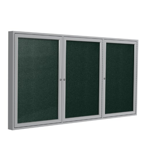 Ghent 36''x72''  3-Door Outdoor Enclosed Vinyl Bulletin Board, Shatter Resistant, with Lock, Satin Aluminum Frame - Ebony (PA33672VX-183), Made in the USA by Ghent