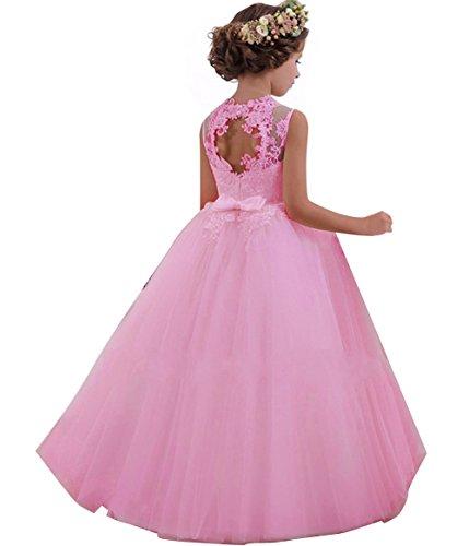 LZH Vestido de Fiesta Niñas Cordón Princesa Vestidos de Novia Rosa