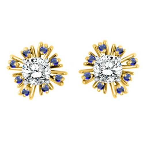 G-H,I2-I3 and Sapphire 10k Gold Starburst Inspired Earring Jacket with Diamonds 0.16 ct. tw.