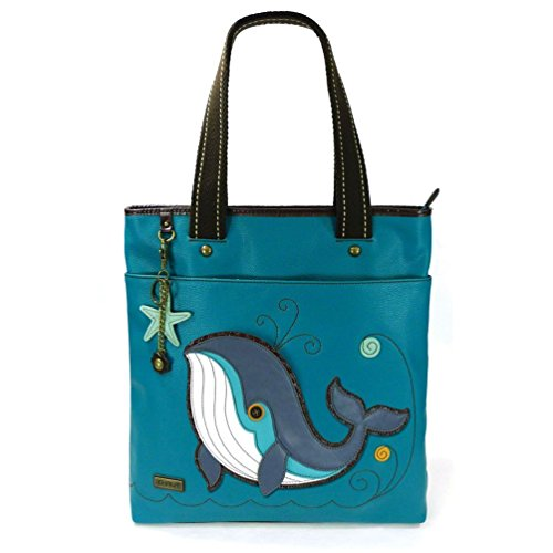 Everyday Zip Tote with Detachable Keychain/Charm, Blue-Whale, 13.5 x 3.5 (Blue Whale Charm)