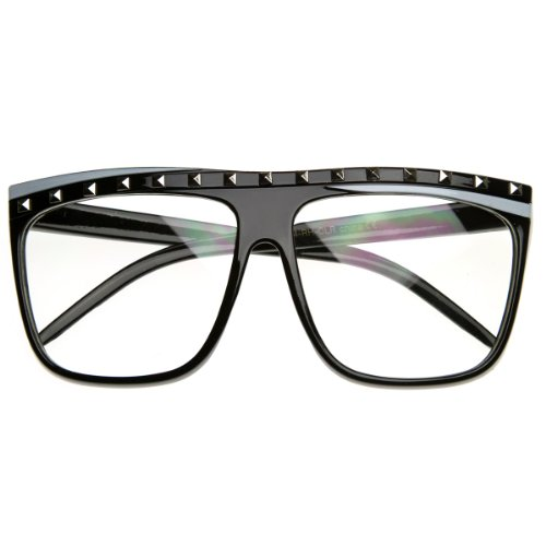 zeroUV - Celebrity Inspired Studded Party Rock Neon Clear Lens Flat Top Sunglasses - Rock Glasses Party