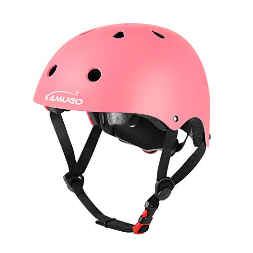 KAMUGO Kids Adjustable Helmet, Suitable for Toddler Kids Ages 3-8 Boys Girls, Multi-Sport Safety Cycling Skating Scooter Helmet (Pink) (Toddler Helmet 3 Year Old Girl)