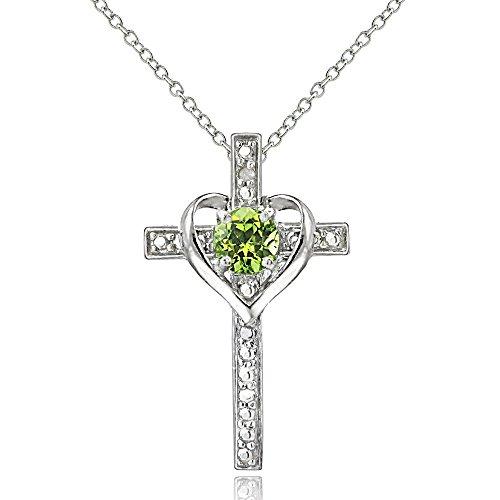 Cross Religious Peridot - Sterling Silver Peridot Cross Heart Pendant Necklace