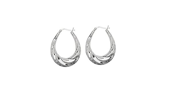 Hoop Earrings SS RHOD HOOP EAR