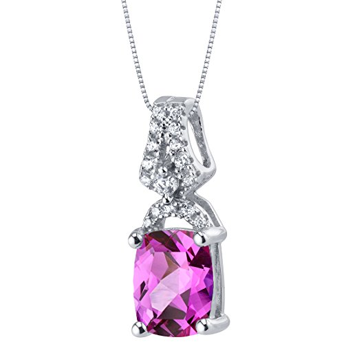 Created Pink Sapphire Sterling Silver Ritzy Pendant (Drop Pink Sapphire Necklace)
