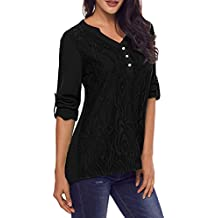 Murimia Women's Summer V Neck Lace Cuffed Sleeve Casual Chiffon Blouses Shirt Tops