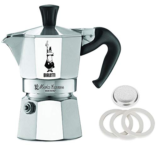Original Bialetti 1-Espresso Cup Moka Express | Espresso Maker Machine with Extra Genuine Bialetti Replacement Filter and Three Gaskets Bundle (1-cup, 2.0 fl oz, 60 ml)