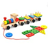 GYBBER&MUMU Wooden Block Train Toys Pull Train Toy Building Blocks Stacking Games Color/ Shape/ Fruits Recognition Learning Education for Kids (25pcs-12.2in)