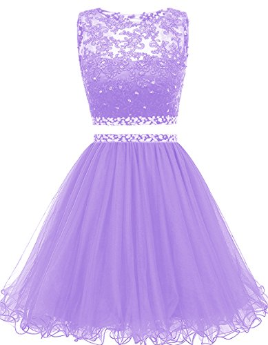 Gowns Beaded H021 Homecoming Women's Short Dresses Himoda Two Prom Pieces Lavender wxX77ZBq