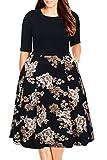 Nemidor Women's Floral Print Vintage Style Plus Size Swing Casual Party Dress (16W, Black+Khaki)