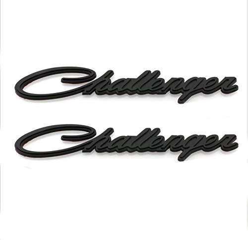 Yoaoo-oem® 2pcs(1pair) OEM Original Chrome Challenger Emblem Decal Nameplate for Dodge Chrysler Mopar (Black)