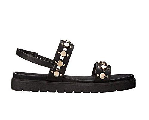 AmoonyFashion Womens Open-Toe Buckle Cowhide Solid Low-heels Sandals Black om5eEQ9mf