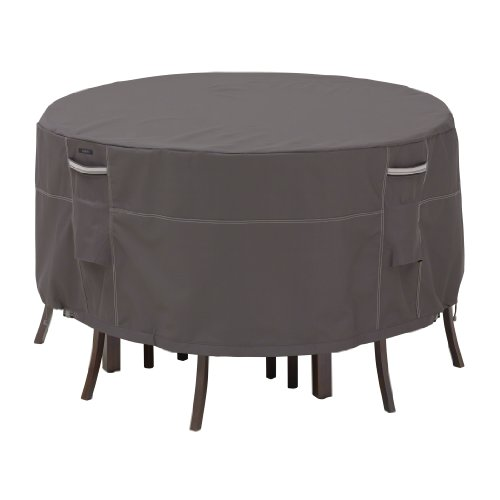 Classic Accessories Ravenna Tall Round Patio Table & Chair Set Cover – Premium Outdoor Furniture Cover with Durable and Water Resistant Fabric, Small (55-187-015101-EC)