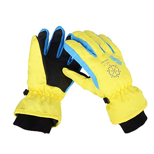 - YAPJEB Kids Ski Gloves, Snow Gloves Waterproof Windproof Winter Cycling Gloves for Snowboarding Biking Riding (Yellow, XS(3-5 Years))
