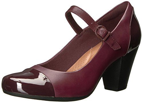 CLARKS Women's Garnit Tianna Dress Pump, Burgundy, 6.5 M US - Leather Mary Jane Shoes
