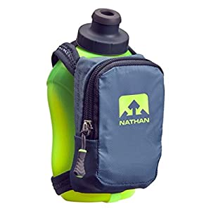 Nathan NS4859 Speedshot Plus Quick Grip 12 oz Running Water Bottle Flask with Zip Pocket