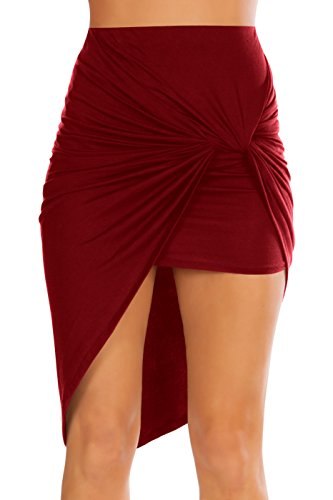 Simlu Women Drape Up Stretchy Asymmetrical High Low Short Mini Bodycon Pencil Skirt,Burgundy,Large