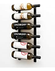 VintageView W Series (2 Ft) - 6 Bottle Wall Mounted Wine Rack (Satin Black) Stylish Modern Wine Storage with Label Forward Design