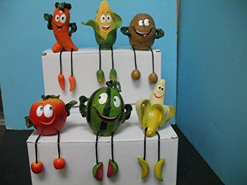 Fruits vegetable figurine shelf sitter set of 6 BISTRO DECOR home Bar kitchen new.