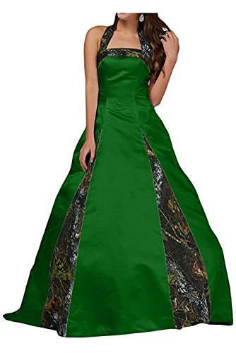 PrettyWish Unique Ball Gown Halter Camo Wedding Party Dress Prom Gown For Women Dark Green&Camo us8
