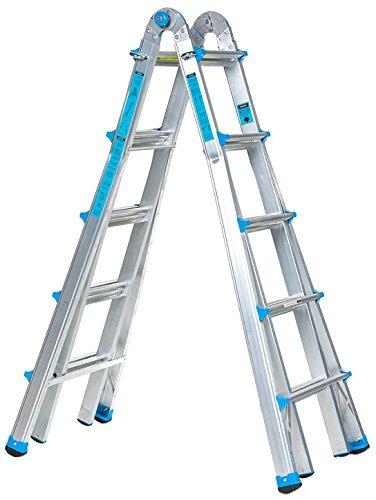 Workman Ladders 22 Foot Multi Configuration Ladder, Sliver/Light Blue