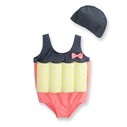 LILYFUN Swimsuit Girls Boys Infant Toddler Children Swimsear Float Clothing Baby Conjoined Buoyancy Bathing Suit (orange+black, (Sea Dog Costume)