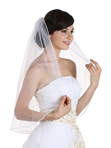 1T 1 Tier Rhinestone Crystal Rattail Edge Veil - White Elbow Length 30