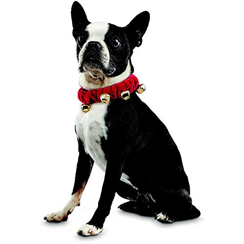 Holiday Tails Jingle Bell Scrunchie Dog Collar, Small/Medium ()