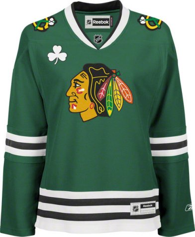 Chicago Blackhawks Women's St. Patrick's Day Green Reebok Premier NHL Jersey