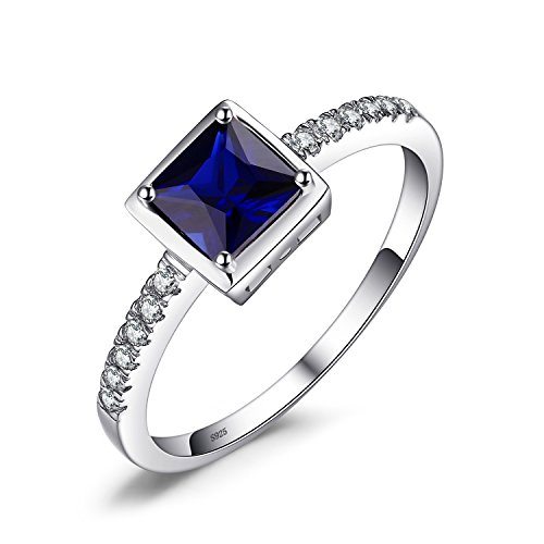 JewelryPalace Square 0.9ct Created Blue Sapphire Solitaire Ring 925 Sterling Silver Size 8