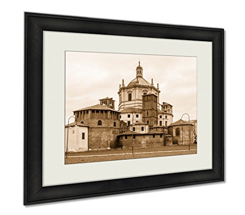 Ashley Framed Prints Back View Of The Sant Lorenzo Church In Milan Italy, Wall Art Home Decoration, Sepia, 26x30 (frame size), AG5901040