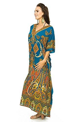 Tunica oversize Abito maxi Turchese Glam Kaftan Taglia unica Caftano donna Kimono da NUOVO Looking wn8fSxpZx