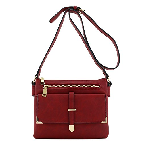 Bag Flap Burgundy Pocket Compartment Double Crossbody xq8wAIOH
