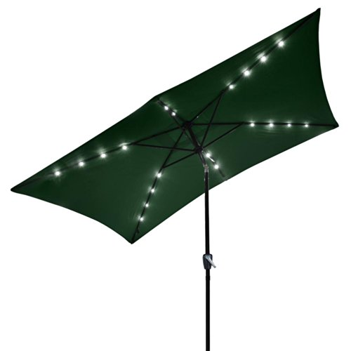 10'x6.5' Green Solar Aluminium Rectangle Tilt Patio Umbrella 20 LEDs