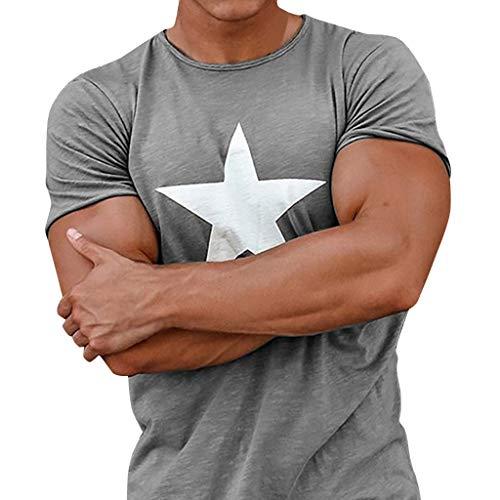 Rock Plaid Shirt - Leegor Summer Men's Printed Star Short-Sleeve Blouse Crewneck Slim T-Shirt Casual Tops
