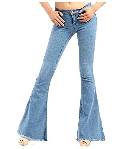 Skinny Wide Leg Jeans - Women's High Rise Bell Bottom Denim Relaxed Fit Stretch Slim Wide Leg Jean Blue