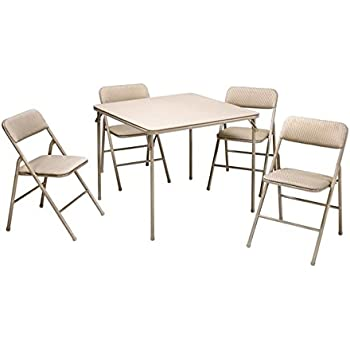 Amazon Com Cosco Folding Table And 5 Piece Chairs Set