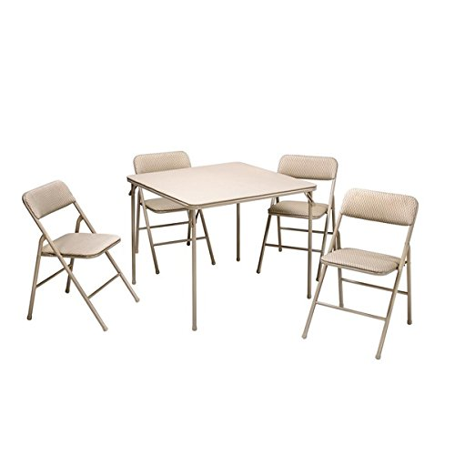 Cosco Folding Table and 5-piece Chairs Set Heavy-Duty Tubular Steel Frames by Cosco