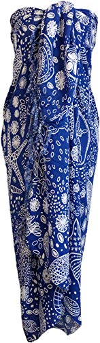 Sarong Wrap From Bali Your Choice of Design Beach Cover Up (Seashells Blue)