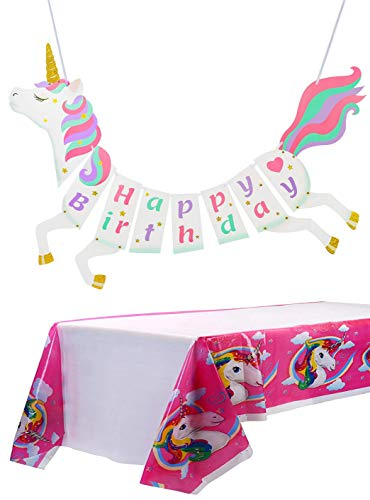 Unicorn Birthday Party Banner and Tablecloth Set-Best Basic Party Decoration Package (Banner and Tablecloth) ()