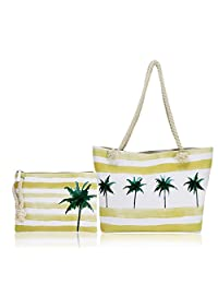 Beach Bag-Twine Beach Bags, Travel Beach Bag, Canvas Beach Bag, Large- Top Zipper Closure (Palm Tree Tote)