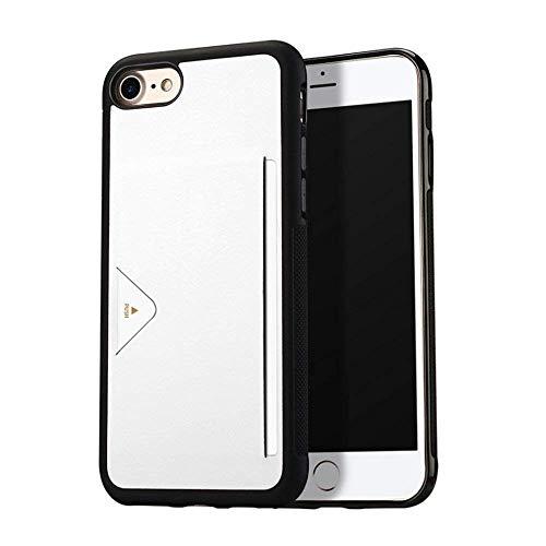 SMT ホルダー付き iPhoneケース カード収納 干渉防止シート付き スマホケース カードケース入れ (iPhone7/8, ホワイト)