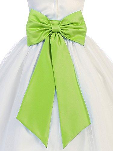 Bello Giovane Satin Flower Girl Sash Belt with Bow (Medium, Lime)