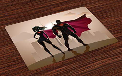 Ambesonne Superhero Place Mats Set of 4, Super Woman and Man Heroes in City Hot Couple in Costume Pattern, Washable Fabric Placemats for Dining Room Kitchen Table Decor, Beige Brown and Magenta