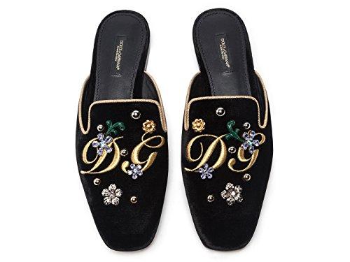 2014 sale online sast cheap price Dolce & Gabbana Women's Slippers in Black Velvet - Model Number: CI0007 AG948 89718 Black WKfuWA