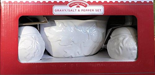 HOLIDAY TIME WHITE GRAVY / SALT and PEPPER SET (Gravy Set)