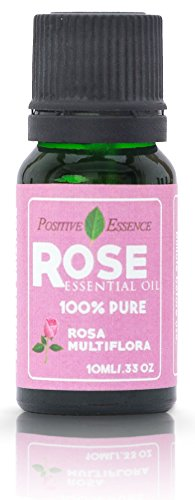 Rose Essential Oil - 100% Pure ROSA MULTIFLORA, Undiluted, Highest Quality - Therapeutic Grade - 10ml Aromatherapy Oil by Positive Essence ()