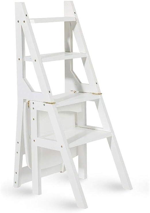 RFJJAL Escalera multifunción de Madera Maciza Silla for el hogar Cocina Escaleras Plegables de Doble Uso Silla movible Escalera de 4 Pasos Ascendente Taburete: Amazon.es: Hogar